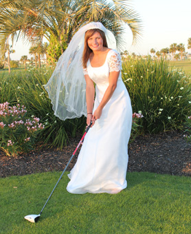 Bride playing golf
